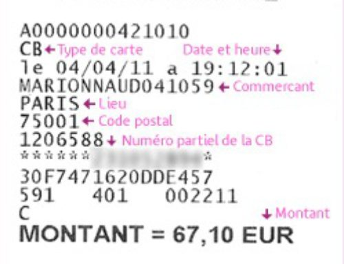 Comprendre un ticket carte bancaire
